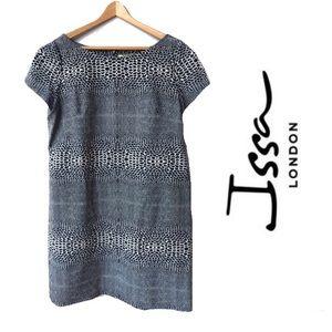 ISSA London Blue Patterned Short Sleeve Dress
